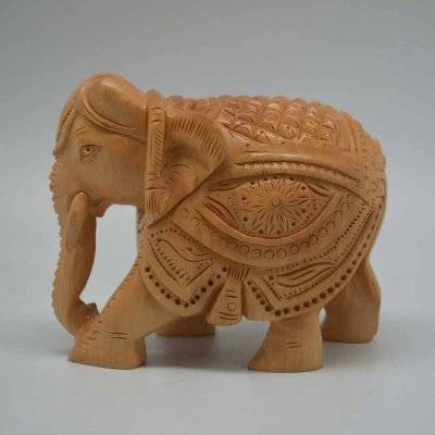 White Wood Carving Elephant