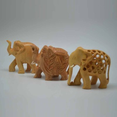 White Wood Elephant Set of 3