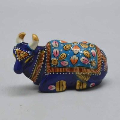 Metal Enamel Cow Sitting