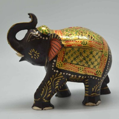 Saluting Painted Wooden Elephant