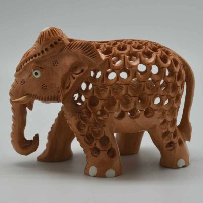 White Wood Under Cut Elephant