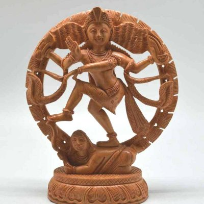 White Wood Round Nataraj