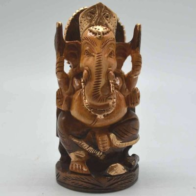 White Wood Sinhasan Ganesha