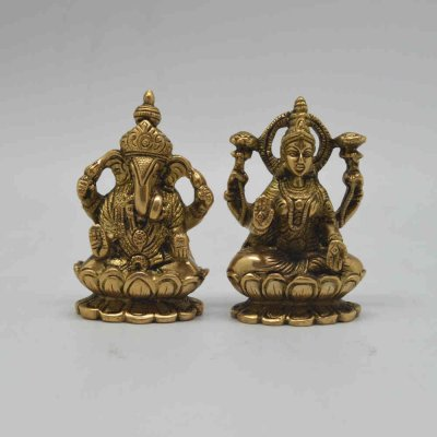 Brass Ganesh Lakshmi Pair on Lotus