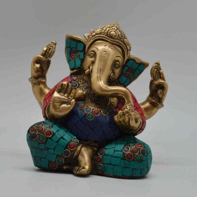 Brass with Stone Work - Ganesh Sitting