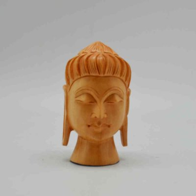 White Wood Buddha Head