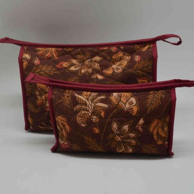 Cotton Printed Cosmetic Bag Set of 2