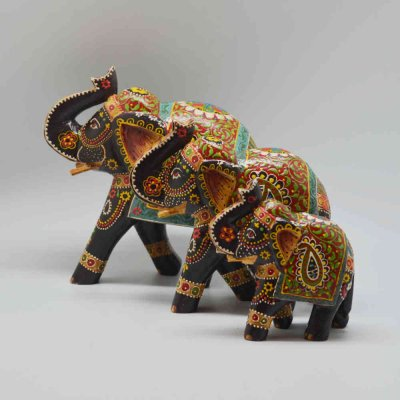 Wood Handpainted Elephant - Set of 3