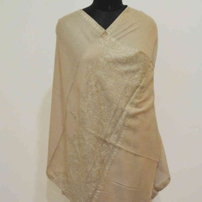 Fine Wool Silk Embroidery Border Wrap / Stole