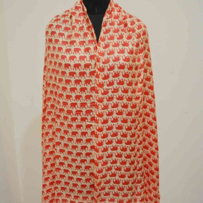Silk Wrap / Stole With Elephant Print