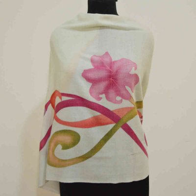 Pure Cashmere Floral Hand Painted & Embroidered