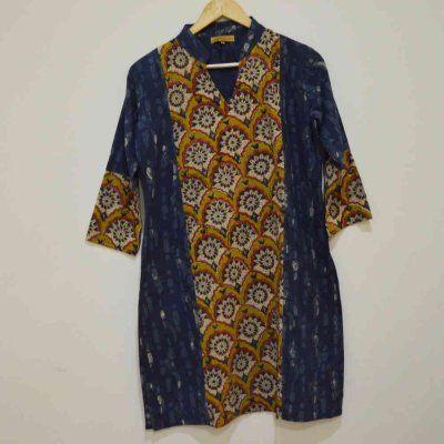 Cotton Indigo Hand print with Pannel Kurti