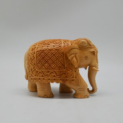 White Wood Mini Carving Elephant