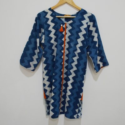 Cotton Indigo Kurti with Shell Button and Pocket