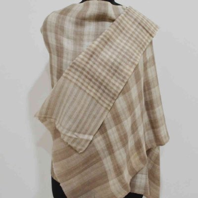 Pure Pashmina Double Check Wrap / Stole