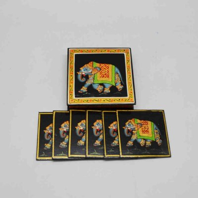 Wooden Ele Coaster Set Of 6