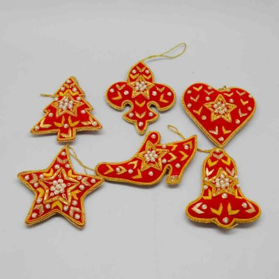 Zardozi Work Christmas Hanging Set of 6