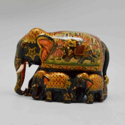 Wood Family Elephant Miniature Painting