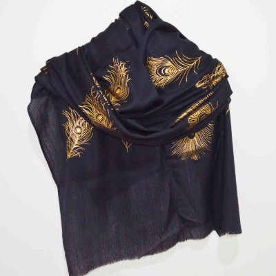 Fine Wool Wrap / Stole with Metallic Print