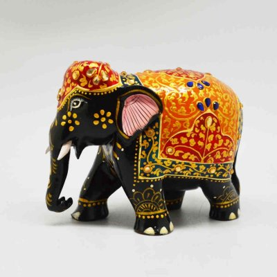Wooden Elephant With Glass Stones