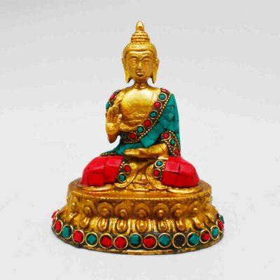 Brass Buddha Sitting on Lotus with Stone Work