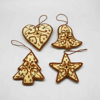 Zardozi Work Christmas Hanging Set of 4