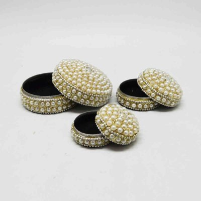 Box With Pearl Work Set of 3