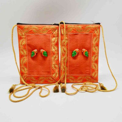 Pouch with Wooden Bird Set of 2