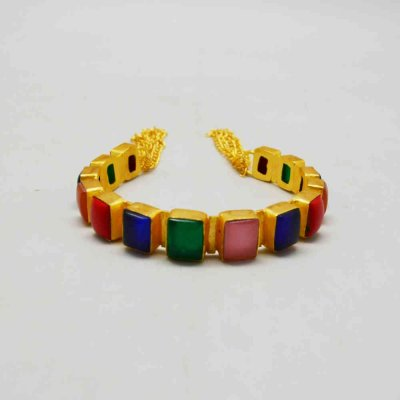 Open Cuff Bangle With Colorful Stone
