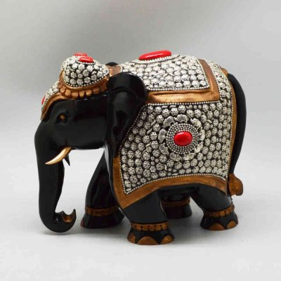 Handmade Teak Wood Elephant with Handpainting and Lac Work