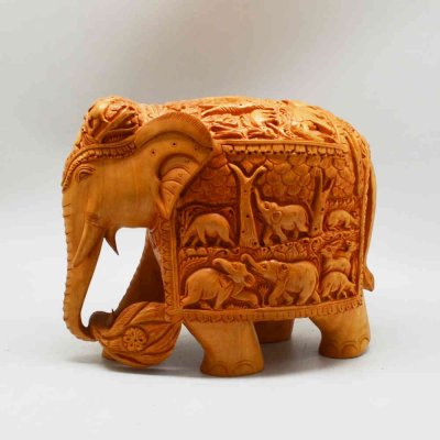 Handmade Carved Teak Wood Elephant with Miniature Carving