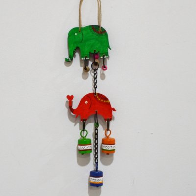 Wood Elephant and bell Hanging