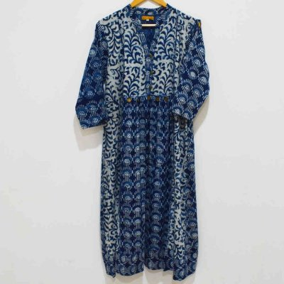 Cotton Indigo hand Print with Brass Button kurti