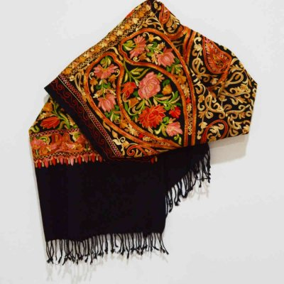 Fine Wool Wrap / Stole With All Over Ary Embroidery