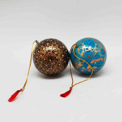 Paper Machie Balls Christmas Hanging Set of 2