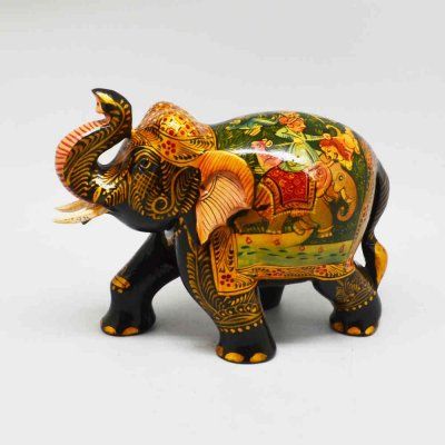 Handmade Wood Painted Miniature Painting Elephant