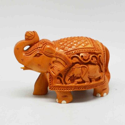Wood Elephant Diamond Cut Shikar Carved with Nail