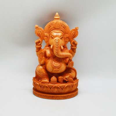 Handmade Whitewood Ganesh Sitting on Lotus