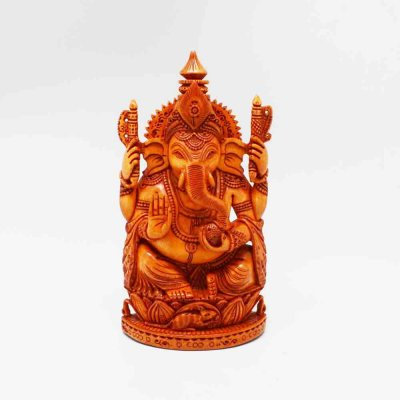 Wood Ganesh Sitting on Lotus