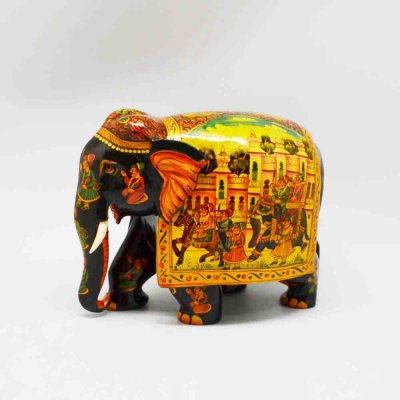 Wood Elephant Miniature Painting