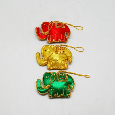 Zardozi Work Elephant Christmas Hanging Set of 3