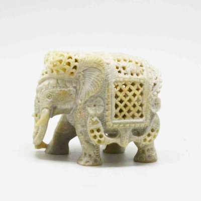 Soft Stone Diamond Jali Elephant with Velvet Box