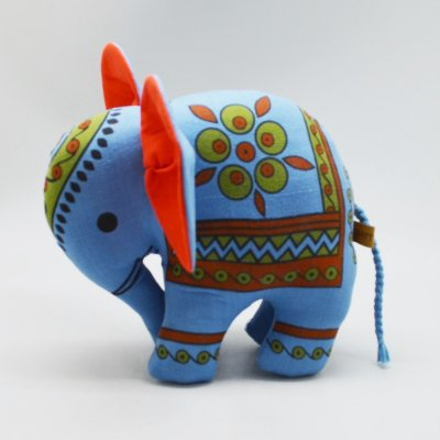 Elephant Stuff Toy With Block Print
