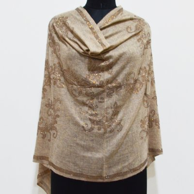 Wool Natural Wrap / Stole With Paisley Crystal