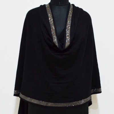 Cashmere Knitted Wrap / Stole With Border Crystal Stole