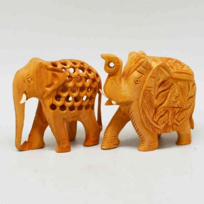 Whitewood Elephants with Miniature And Undercut Carving Set of 2