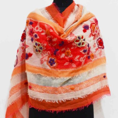100% Wool Boiled Wrap / Stole With Embroidery