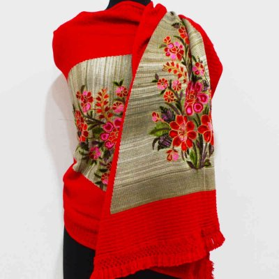 Woolen Wrap / Stole with knitted work