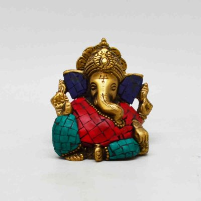 Brass Ganesh Sitting Stone Work