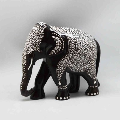 Handmade Shishamwood Inlay Elephant